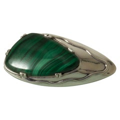 Silver and Malachite Brooch from Gustaf Dahlgren & Co. Sweden, 1950s