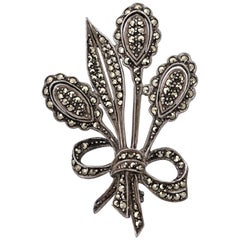 Silver and Marcasite Flower and Bow Brooch circa 1930s
