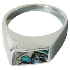 Silver and Mother of Pearl Ring by Arne Johansen, Denmark, 1950s