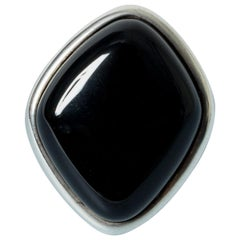 Silver and Onyx Ring from Niels Erik From, Denmark, 1960s