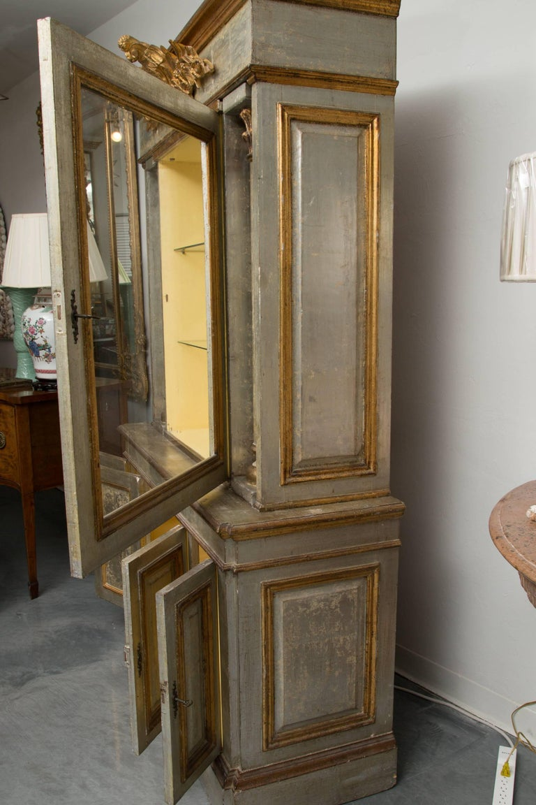 Wood Silver and Parcel-Gilt Italian Cabinet For Sale