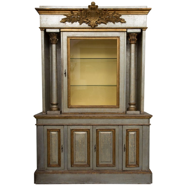 Silver and Parcel-Gilt Italian Cabinet For Sale