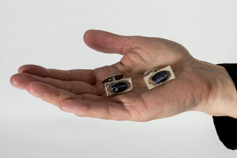 Silver and Purple Stone Modernist Cufflinks from Kaplans, Sweden, 1963 In Good Condition For Sale In Stockholm, SE