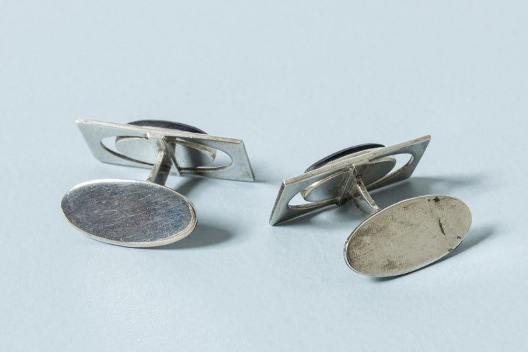 Silver and Purple Stone Modernist Cufflinks from Kaplans, Sweden, 1963 For Sale 1