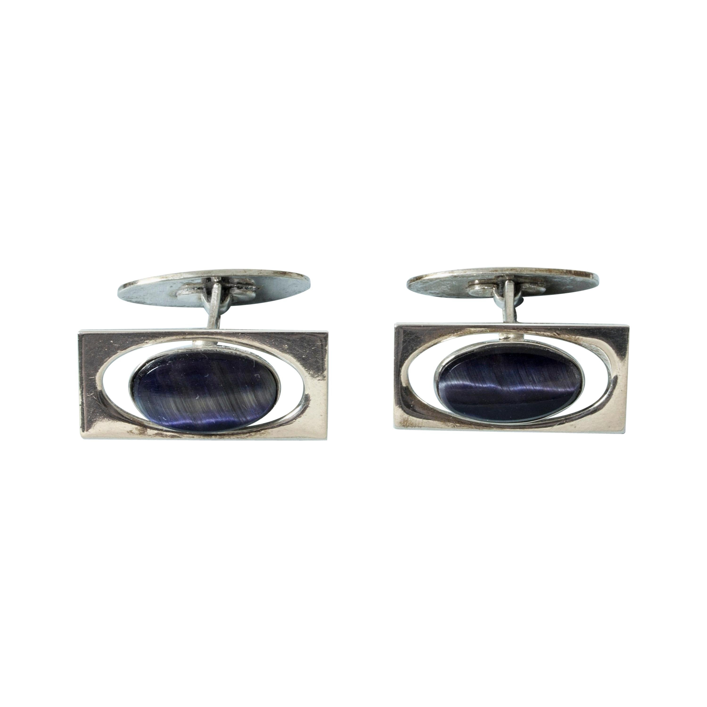 Silver and Purple Stone Modernist Cufflinks from Kaplans, Sweden, 1963