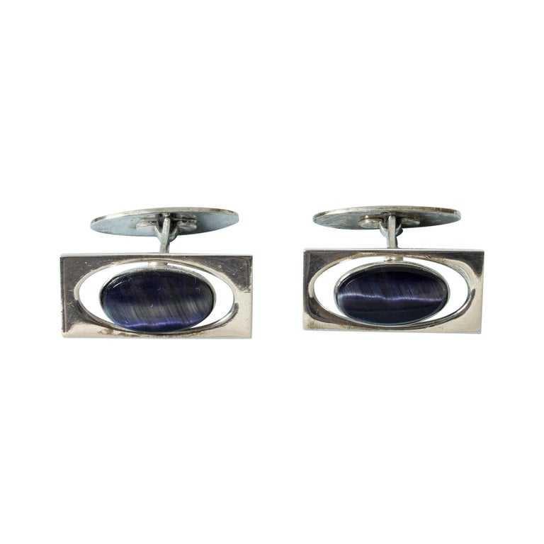 Silver and Purple Stone Modernist Cufflinks from Kaplans, Sweden, 1963 For Sale