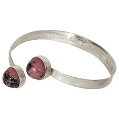 Silver and Rhodochrosite Bracelet by Åke Lidström for Bengt Hallberg