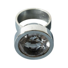 Silver and Rock Crystal Ring by Elis Kauppi for Kupittaan Kulta, Finland, 1960s