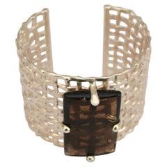 Silver and Smoky Rock Crystal Cuff Bracelet
