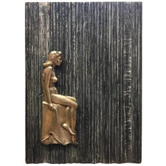 Silver and Textured Wood Wall Sculpture by Eugene Gauss, 1905-1988