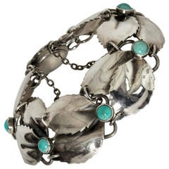 Silver and Turquoise Bracelet by Gertrud Engel for Michelsen, Sweden, 1950s