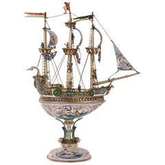 Silver and Viennese Enamel Model of a Nef