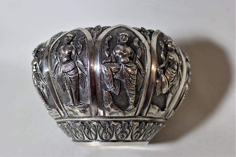 Silver Anglo-Indian Bowl with Figures For Sale 3