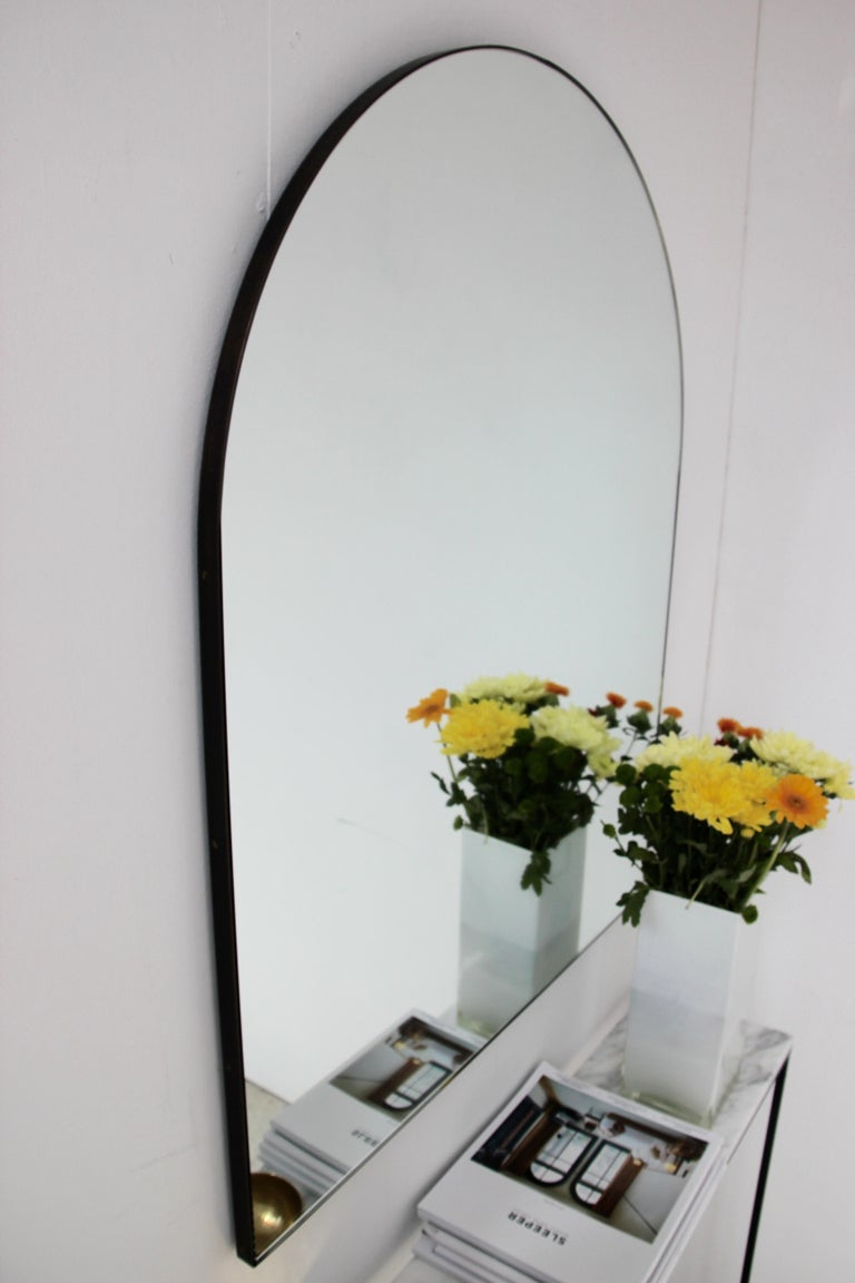Organic Modern Silver Arcus Mirror Large with a Brass Patinated Frame, Overmantel For Sale