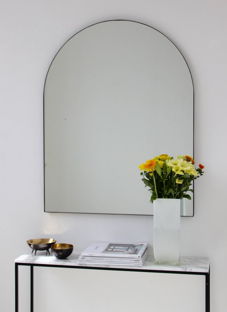 British Silver Arcus Mirror Large with a Brass Patinated Frame, Overmantel For Sale