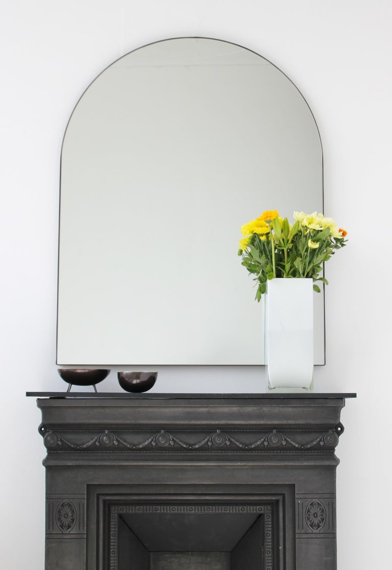 Silver Arcus Mirror Large with a Brass Patinated Frame, Overmantel For Sale 2