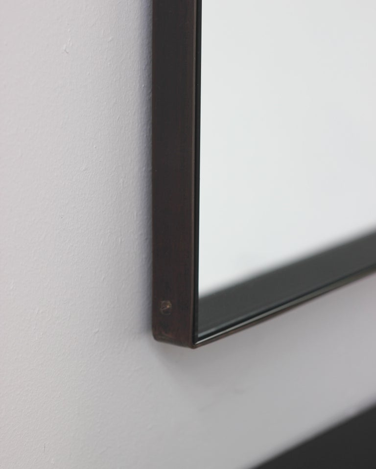 Contemporary Silver Arcus Mirror Large with a Brass Patinated Frame, Overmantel For Sale