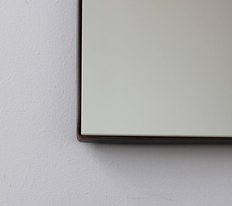 Silver Arcus Mirror Large with a Brass Patinated Frame, Overmantel For Sale 1