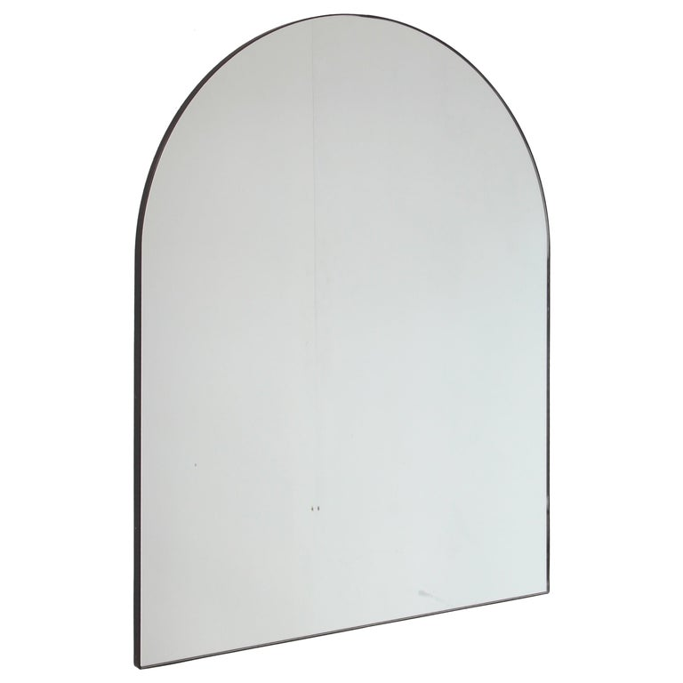 Silver Arcus Mirror Large with a Brass Patinated Frame, Overmantel For Sale