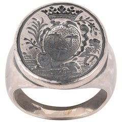 Silver Armorial Signet Ring