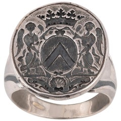Silver Armorial Signet Ring Second Quarter of the 18th Century