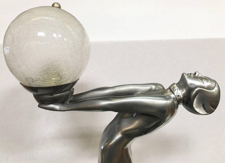 Silver Art Deco Biba Style Lamp Fashioned after