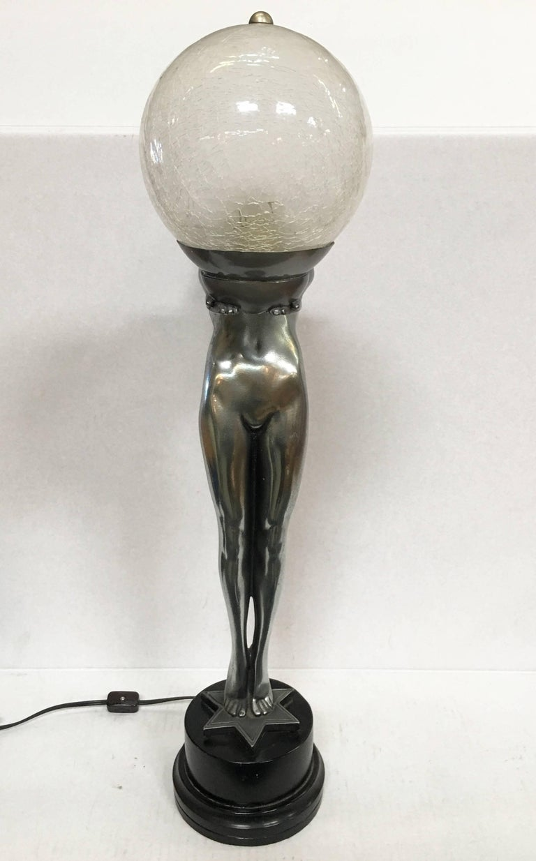 American Silver Art Deco Biba Style Lamp Fashioned after