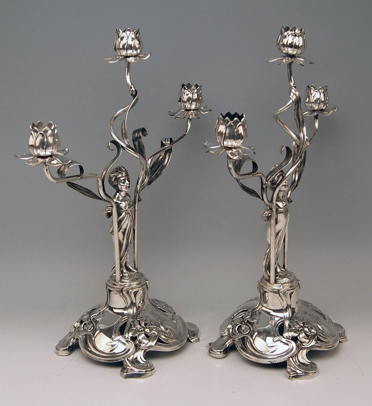 Silver German pair of candlesticks / candleholders, made by Schoellkopf (Pforzheim / Germany).