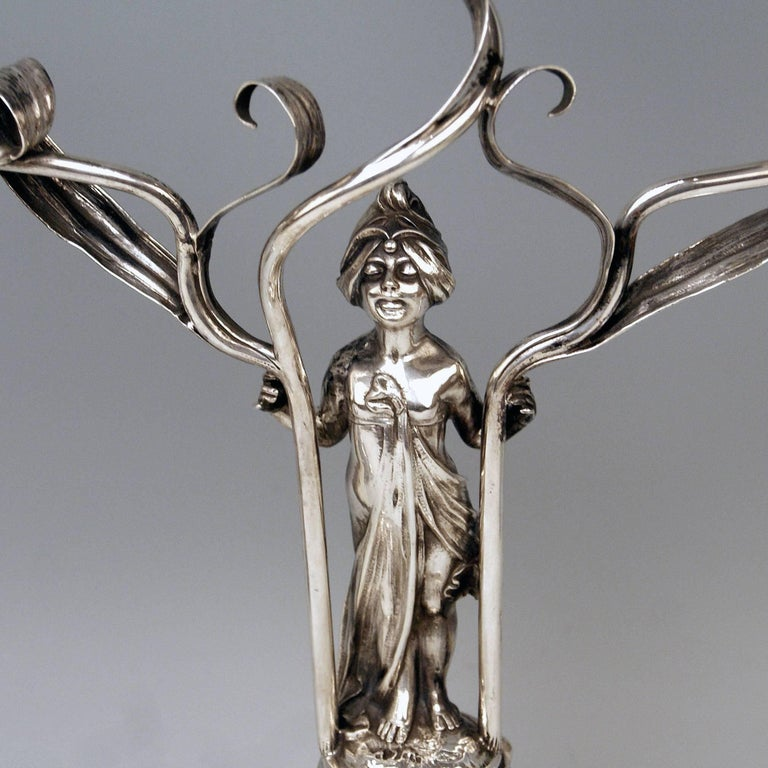Early 20th Century Silver Art Nouveau Pair of Candlesticks Schoellkopf Pforzheim Germany, 1900 For Sale