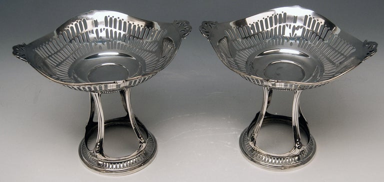 Silver German pair of centrepieces / centerpieces made by Bruckmann & Sons (Germany).