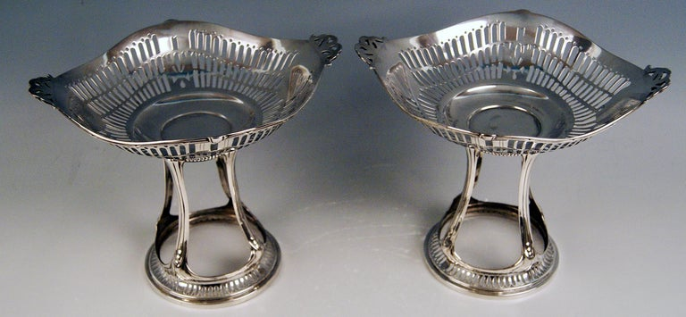 Silver Art Nouveau Pair of Centrepieces Holders Bruckmann and Sons, Germany 1900 In Excellent Condition For Sale In Vienna, AT