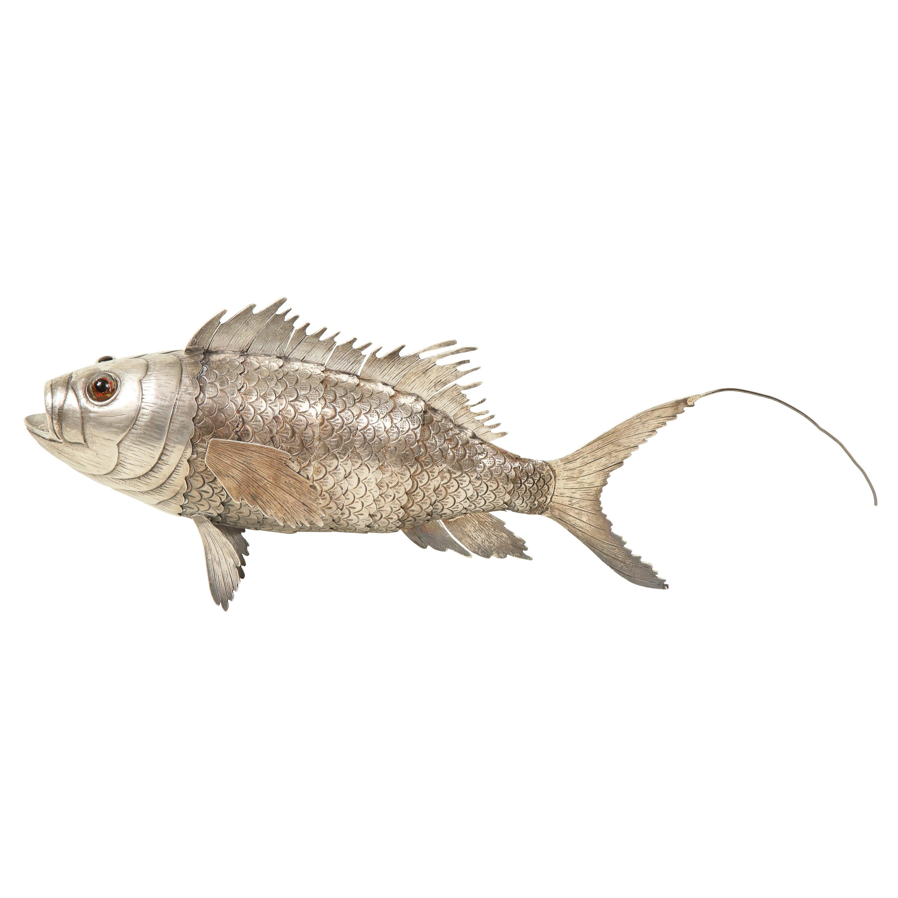 Silver Articulated Model of a Fish