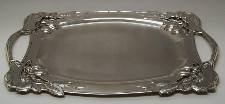 Silver Austria Art Nouveau Plate Length 24.80 Inches Vienna Leopold Mandl, 1914 In Excellent Condition For Sale In Vienna, AT
