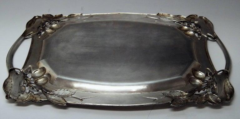 Silver Austria Art Nouveau Plate Length 24.80 Inches Vienna Leopold Mandl, 1914 For Sale 4