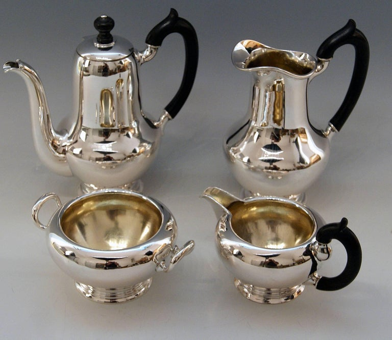 Silver Austrian gorgeous set of most elegant appearance: Coffee pot Milk pot Creamer Sugar bowl manufactured, circa 1922-1925  Items of this set are manufactured in elegant style of earlier Art Deco period / coffee as well as milk pot's form