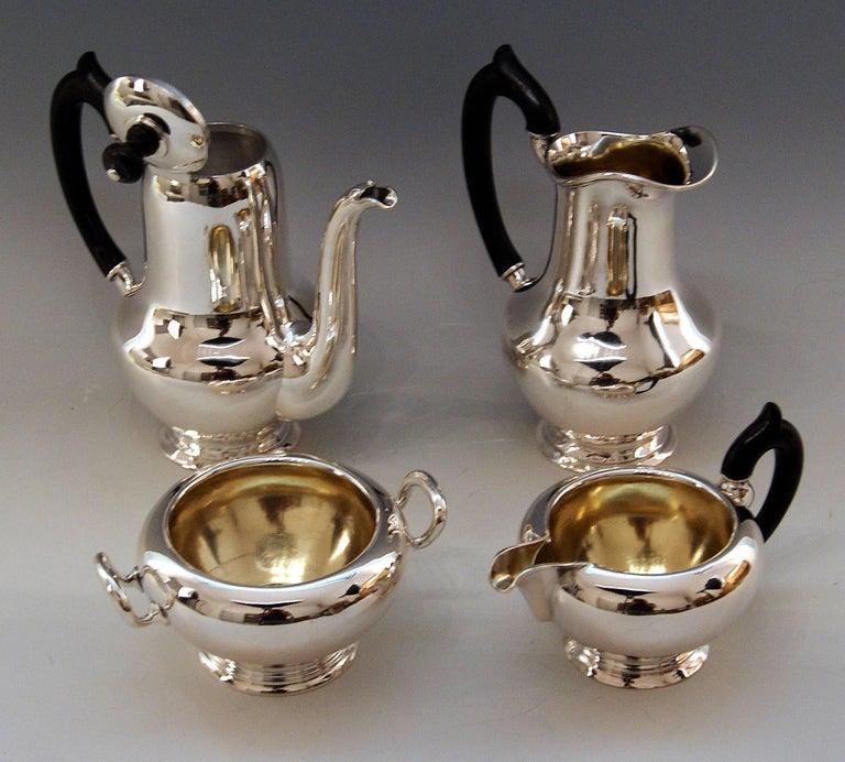 Art Deco Silver Austria Vienna Coffee Pot Milk Pot Sugar Bowl Creamer Klinkosch 1922-1925 For Sale