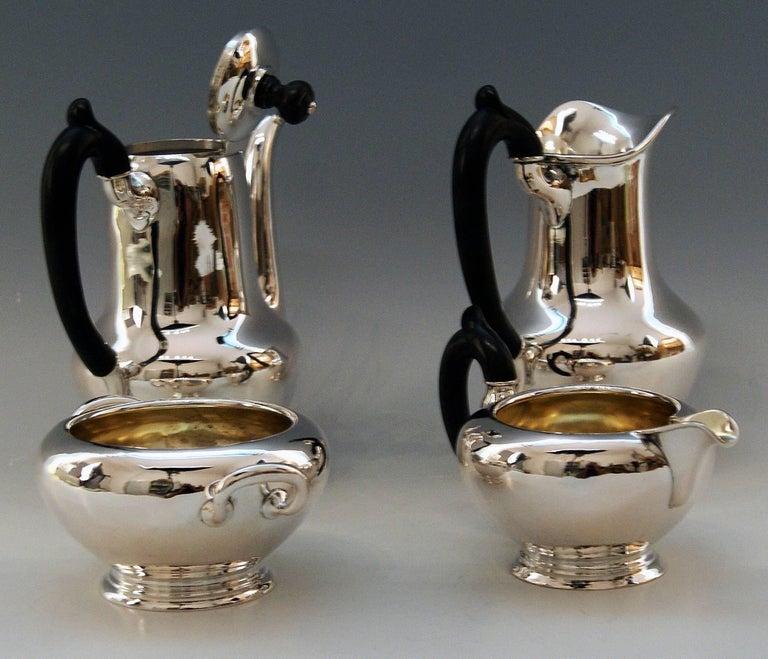 Silver Austria Vienna Coffee Pot Milk Pot Sugar Bowl Creamer Klinkosch 1922-1925 In Excellent Condition For Sale In Vienna, AT
