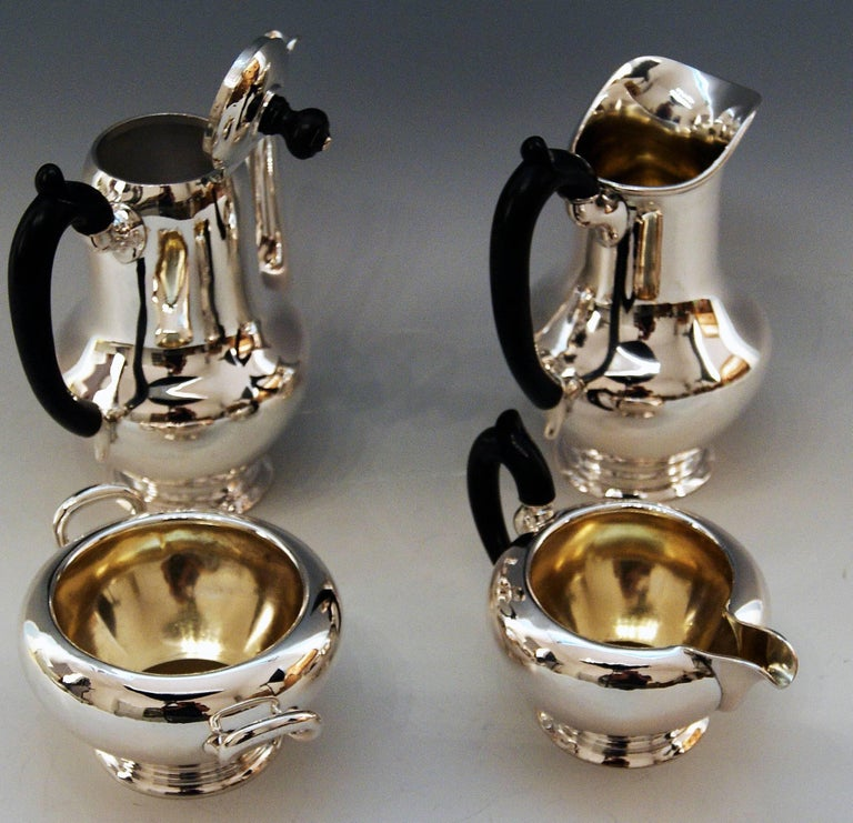 Early 20th Century Silver Austria Vienna Coffee Pot Milk Pot Sugar Bowl Creamer Klinkosch 1922-1925 For Sale