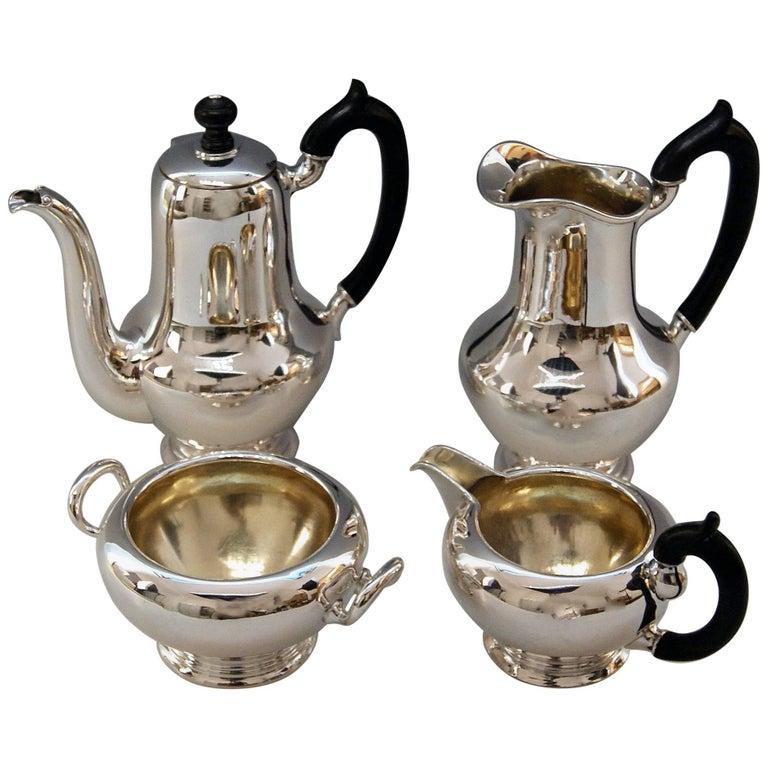 Silver Austria Vienna Coffee Pot Milk Pot Sugar Bowl Creamer Klinkosch 1922-1925 For Sale