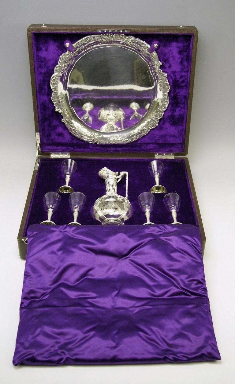 Silver Austria Vienna Liqueur Set Decanter Six Glasses Tray Klinkosch Made 1906 For Sale 6
