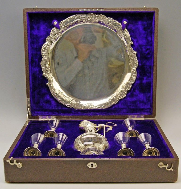 Silver Austrian gorgeous liqueur set of most elegant appearance.  Particular feature: Most probably one-off production / special design in original casket, manufactured 1906 = there is a metal plaque attached to casket's lid with referring date.