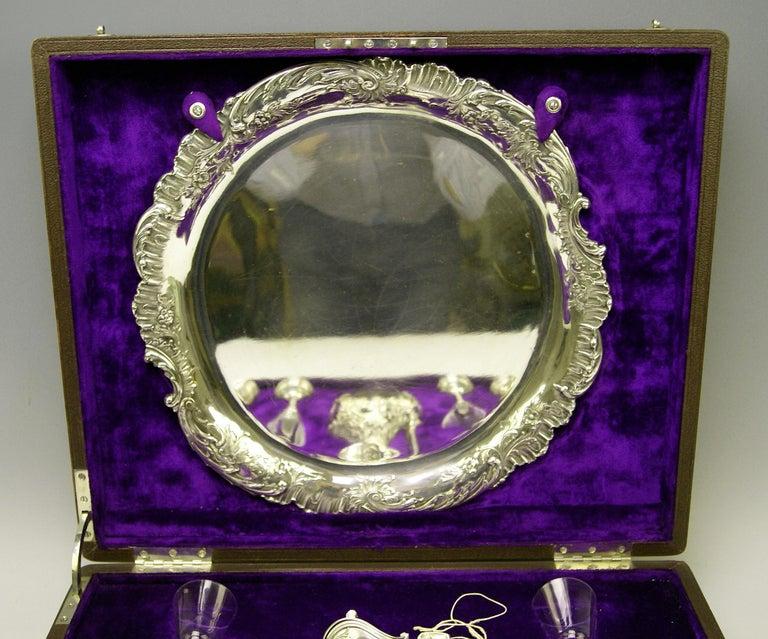 Late Victorian Silver Austria Vienna Liqueur Set Decanter Six Glasses Tray Klinkosch Made 1906 For Sale