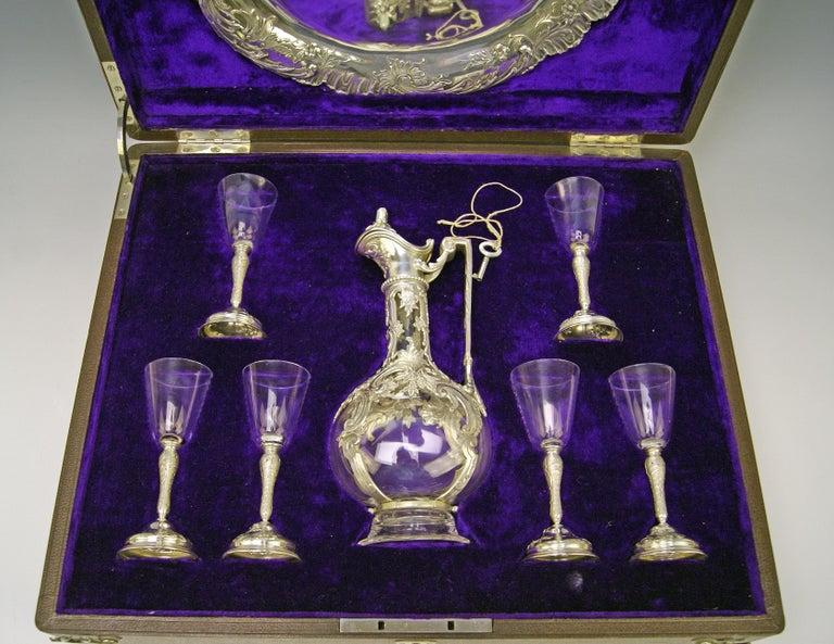 Austrian Silver Austria Vienna Liqueur Set Decanter Six Glasses Tray Klinkosch Made 1906 For Sale