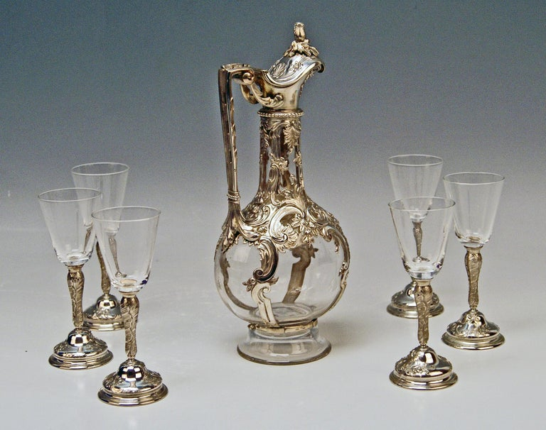 Silver Austria Vienna Liqueur Set Decanter Six Glasses Tray Klinkosch Made 1906 In Good Condition For Sale In Vienna, AT