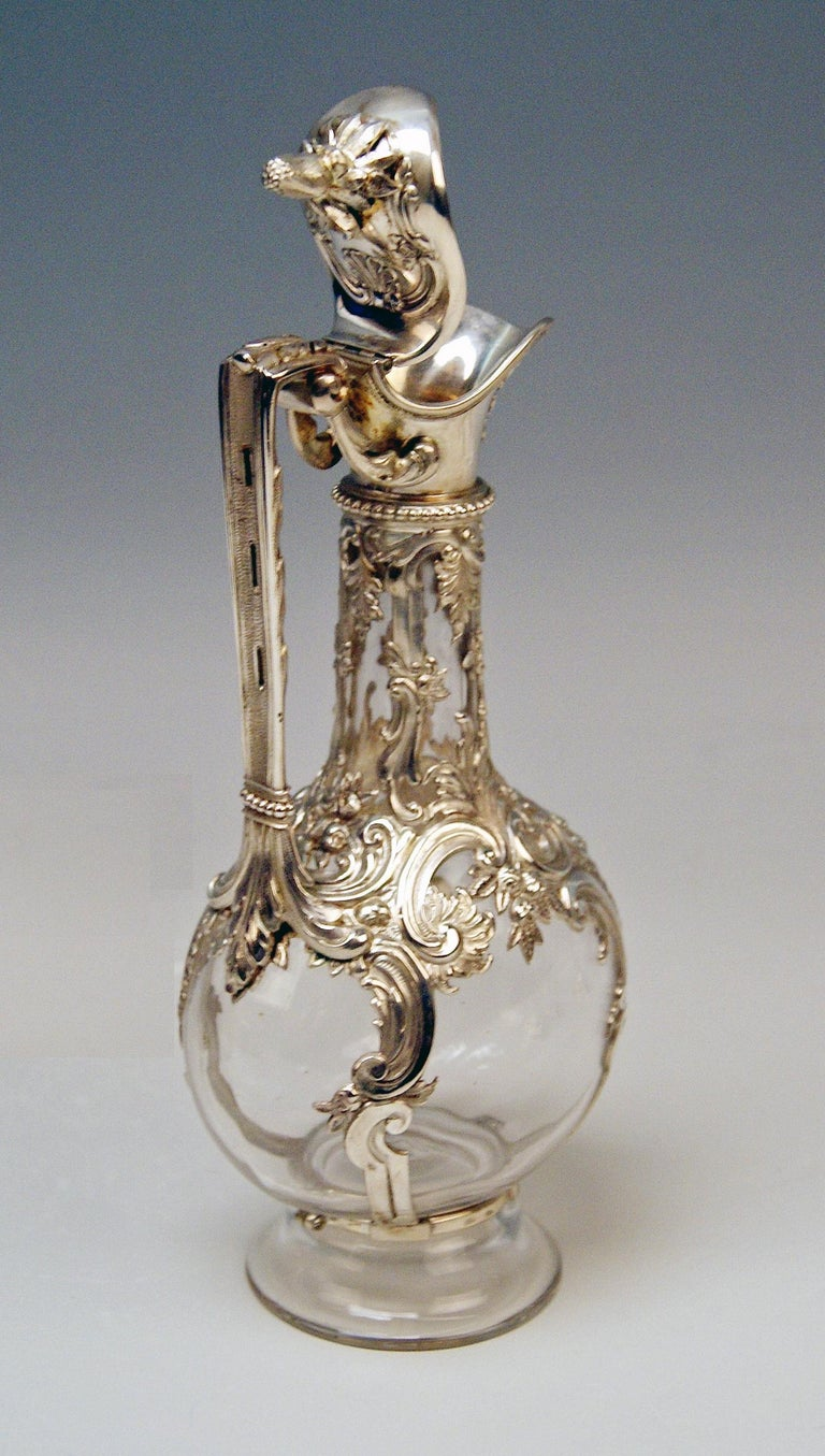 Silver Austria Vienna Liqueur Set Decanter Six Glasses Tray Klinkosch Made 1906 For Sale 1