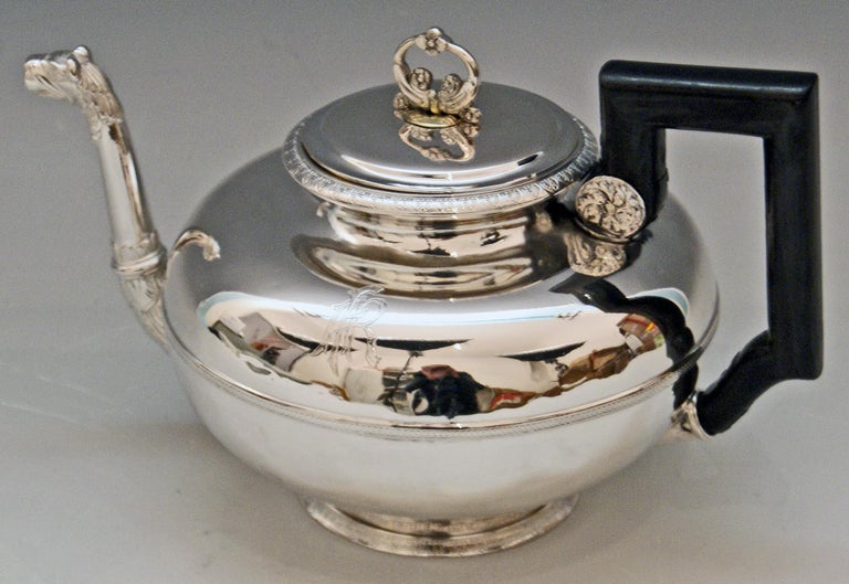Silver Austrian gorgeous tea pot of elegant appearance: Manufactured 1829 / Biedermeier period.  The pot is manufactured in most elegant Biedermeier style: Tea pot's form is of bellied as well as of tapering type having smooth surface / the