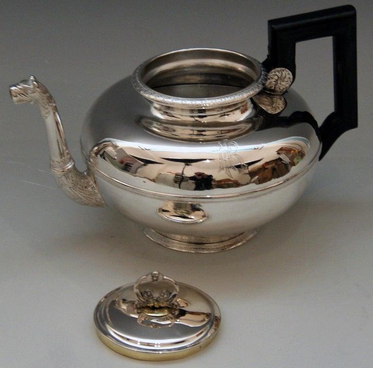 Austrian Silver Austria Vienna Tea Pot Biedermeier Period by Christian Sander Made 1829 For Sale
