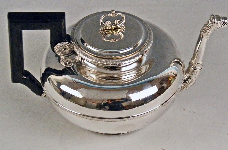 Early 19th Century Silver Austria Vienna Tea Pot Biedermeier Period by Christian Sander Made 1829 For Sale