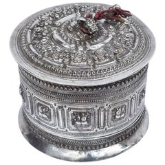 Silver Betel Box / Cannister from Laos, 19th Century, Repousse Work and Chasing