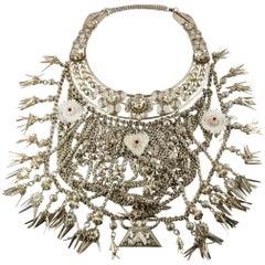 Silver Bib Necklace Dangling Flowers Tassles Stars Sun Heart Fish Red Stone Bead